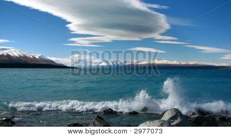 Wave Breaking On Shoreline.