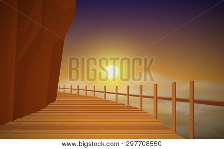 Wooden Walkway On The Mountain In The Morning