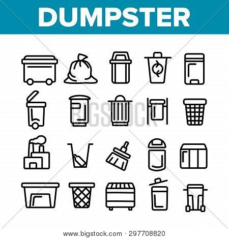 Dumpster, Garbage Container Thin Line Icons Set. Dumpster, Trash Collecting Equipment Linear Illustr