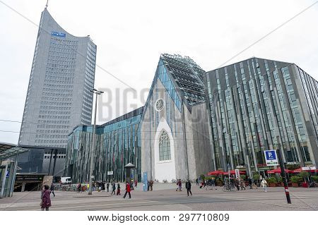 Leipzig, Germany - October 2018: Paulinum, Evangelical Church And Augusteum, Main Building Of Leipzi
