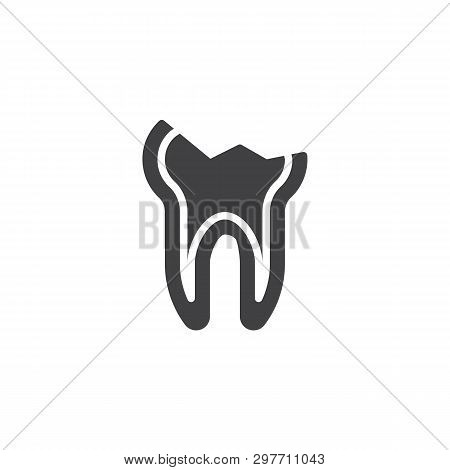 Decayed teeth vector icon. Chipped tooth broke filled flat sign for mobile concept and web design. Cracked tooth glyph icon. Dentistry, stomatology and dental care symbol, logo illustration. poster