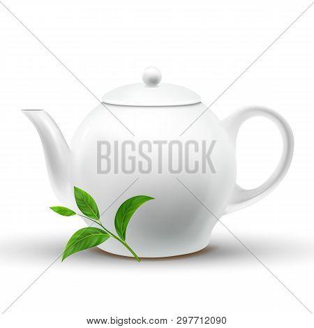 Ceramic White Teapot With Vector Green Tea Leaf. Teapot Mockup Isolated Design Element. Eco, Organic