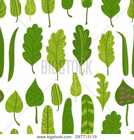 Seamless Pattern With Tropical Leaves. Vector Illustration For Your Design