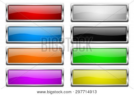 Square Buttons. Glass Colored Icons With Chrome Frame. Vector 3d Illustration