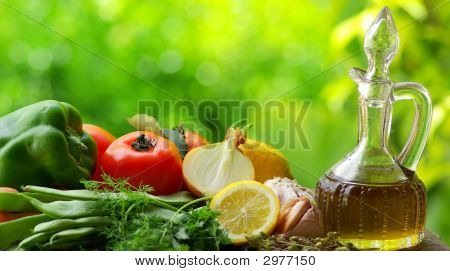 Oil Olive With Vegetables.