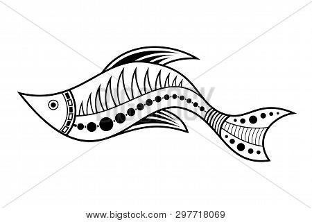 Fish. Aboriginal Art Style. Tatoo. Black And White Logo. Vector Monochrome Illustration Isolated On