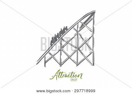 Attraction, Rollercoaster, Fun, Ride, Amusement Concept. Hand Drawn Rollercoaster Attraction For Kid