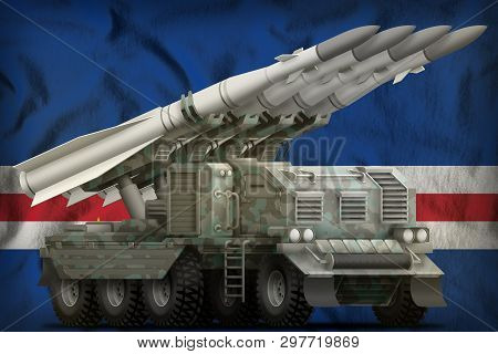 Tactical Short Range Ballistic Missile With Arctic Camouflage On The Cabo Verde Flag Background. 3d