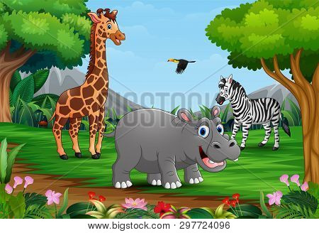 Wild Animals Cartoon Are Playing In The Jungle