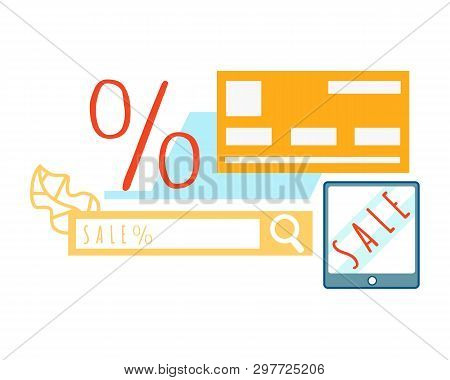 Electronics Online Store Sale Vector Illustration. Internet Shopping On Website. Searching For Best