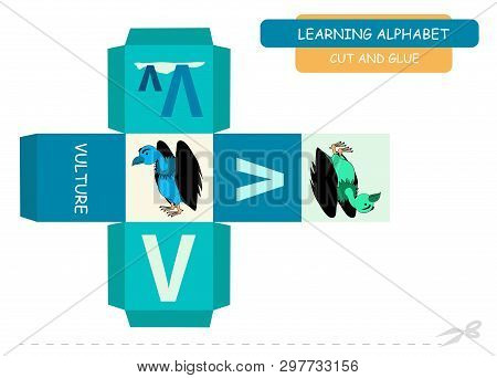 Сut And Glue The Cube: Letter V. Educational Game For Kids. Cute Zoo Alphabet A-z In Vector For Chil