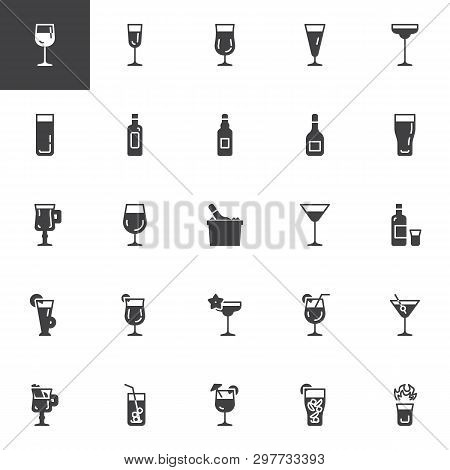 Cocktails Vector Icons Set, Modern Solid Symbol Collection, Filled Style Pictogram Pack. Signs, Logo