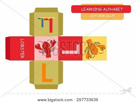 Сut And Glue The Cube: Letter L. Educational Game For Kids. Cute Zoo Alphabet A-z In Vector For Chil