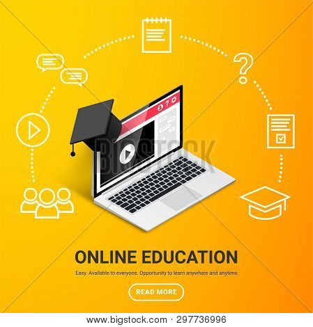 Online Education Design Concept. Online Learning, Webinar, Distance Education, Business Training Ban