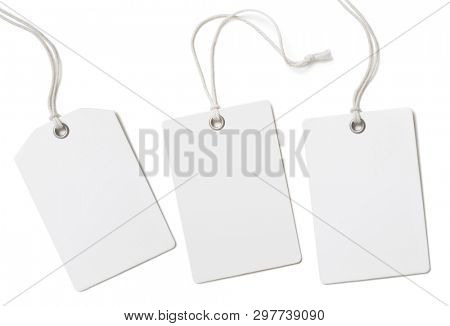 Blank paper cloth labels or price tags set isolated
