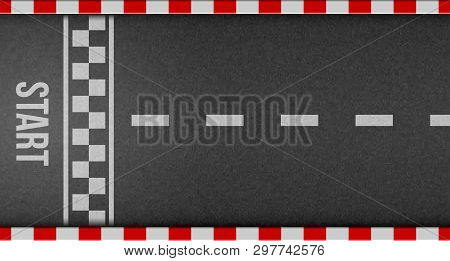 Creative Vector Illustration Of Finish Line Racing Background Top View. Art Design. Start Or Finish