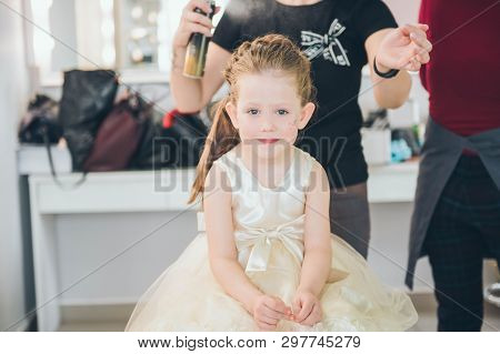 Hairdresser Weaving Plaits In Beauty Salon. Hairdressing Services. Сreating  Hairstyle. Hair Styling