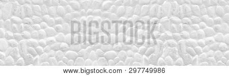 Whitewashed Stone Wall Wide Panoramic Texture. White Painted Stones Panorama. Long Light Background