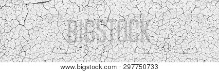 White Cracked Weathered Concrete Wall Wide Texture. Old Cement Light Surface Panorama. Retro Panoram