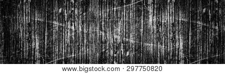 Wide Black Grunge Background. Old Weathered Dark Concrete Wall Panoramic Texture. Dirty Stains And S