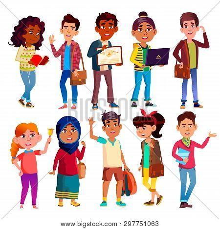 Highschool Pupils, Teenagers Cartoon Characters Set. Highschool Lifestyle, International Education,