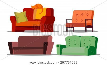 Cozy Sofa, Divan, Cushioned Furniture Set. Cartoon Divan, Couch. Living Room, Office, Store Isolated