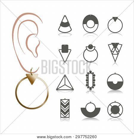 12 Earring Vector Templates. Cutout Silhouettes Like Hoops  Geometric Shapes. Design Is Suitable For