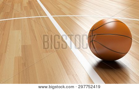 Basketball On Wooden Court Floor Close Up With Light Reflection 3d Rendering
