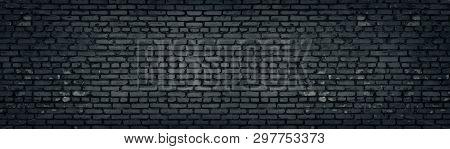 Wide Old Dark Gray Shabby Brick Wall Texture. Black Masonry Panorama. Brickwork Panoramic Grunge Bac