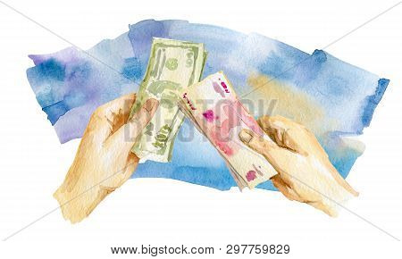 Financial Strategy. Joint Investment. Capital Consolidation Watercolor Illustration