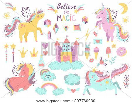 Set Of Fantasy Unicorns And Other Items. Vector Illustration For Your Design