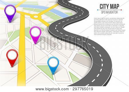 Creative Vector Illustration Of Map City. Street Road Infographic Navigation With Gps Pin Markers An