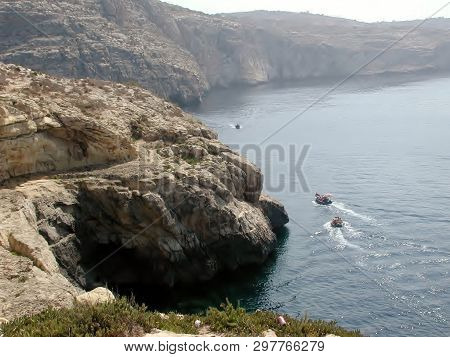 Blue Grotto Boat Rides Take Visitors On A Short Cruise To The Famous Blue Grotto, Malta.