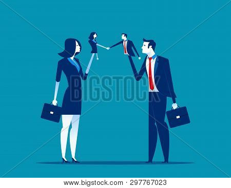 Business Puppet. Concept Business Vector Illustration.