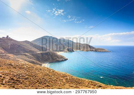 Southern Greece Mani Peninsula. Sea Landscape Rocky Coastline And Stone Tower House On Hill, Pelopon