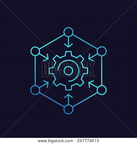 Integration Process, Technology Icon With Cogwheel And Arrows, Linear