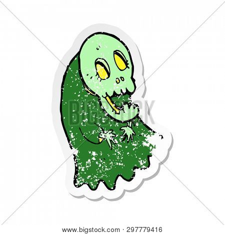 retro distressed sticker of a cartoon spooky ghoul