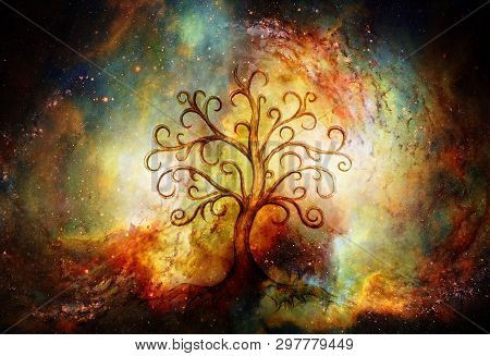 Tree Of Life Symbol On Structured And Space Background, Yggdrasil.