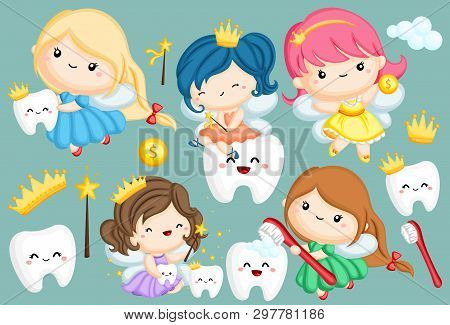 A Vector Set Of Many Tooth Fairy In Different Colors