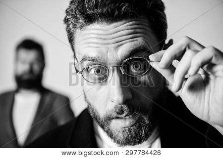 Picky Smart Inspector. Man Handsome Bearded Guy Wear Eyeglasses. Eye Health And Sight. Optics And Vi