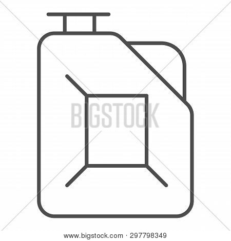 Fuel Canister Thin Line Icon. Jerrycan Vector Illustration Isolated On White. Petrol Tank Outline St