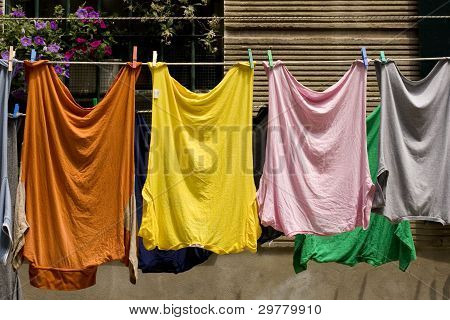 Shirt Hanging To Dry On A Clothes-line.