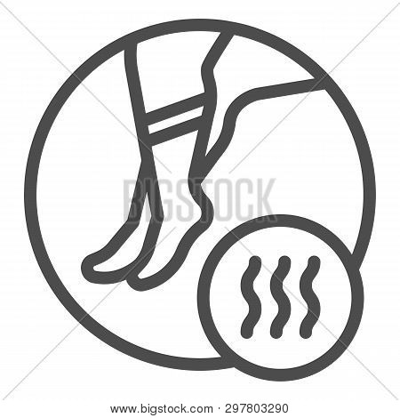 Foot With Bad Odor Line Icon. Smelly Socks Vector Illustration Isolated On White. Stinky Feet Outlin