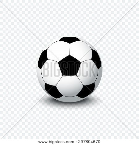 Soccer Ball. Realistic Football Ball Or Soccer Ball With Shadow On Transparent Background. Football