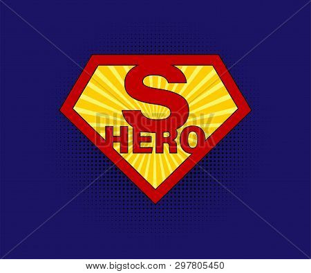 Sign Superhero On Blue Background With Halftone In Comic Style