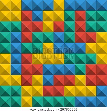 Game Tetris Pixel Bricks. Seamless Pattern Background. Colorfull Game Background