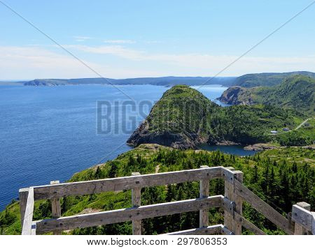 Beautiful Views Hiking The East Coast Trail From A Lookout  Below Is The Vast Atlantic Ocean, Rugged