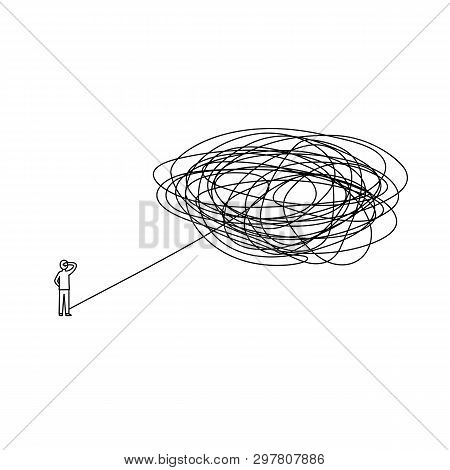 Standing Man With Complicated Problem Must Be Solved Ahead Illustration. Businessman With Difficult