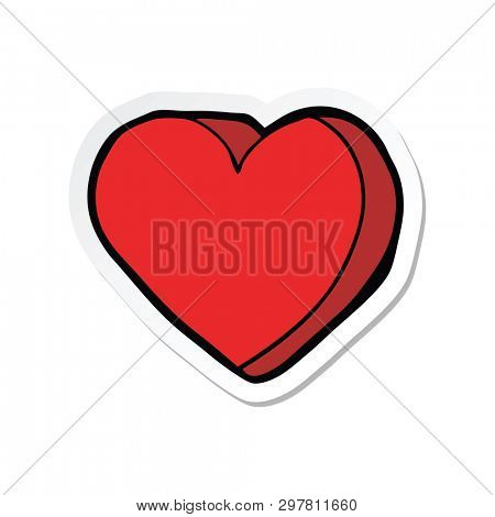 sticker of a cartoon love heart