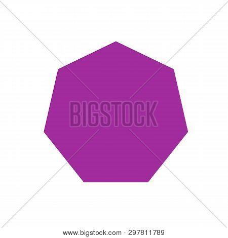 Purple Heptagon Basic Simple Shapes Isolated On White Background, Geometric Heptagon Icon, 2d Shape